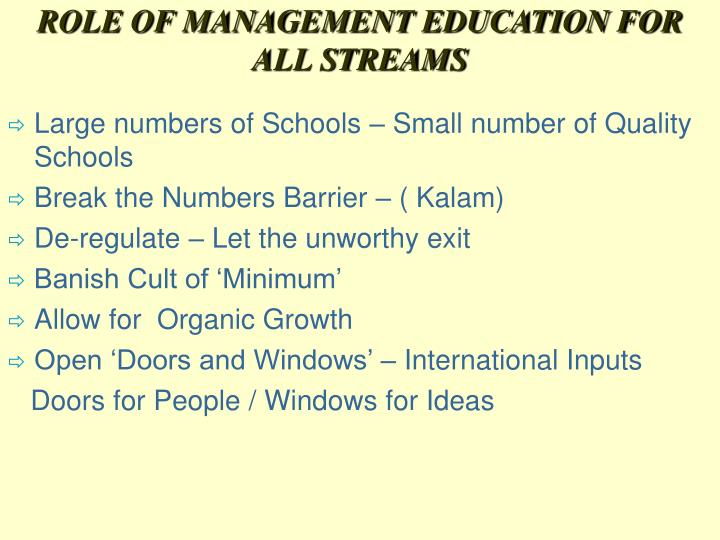 ROLE OF MANAGEMENT EDUCATION FOR ALL STREAMS