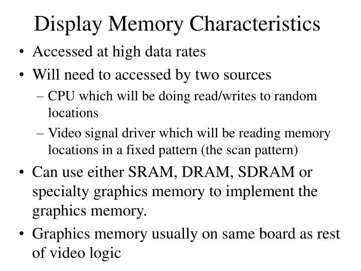 Display Memory Characteristics