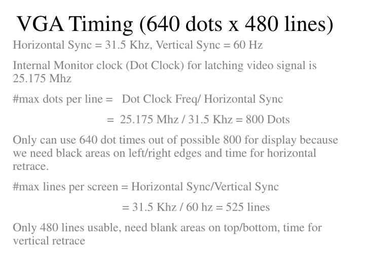 VGA Timing (640 dots x 480 lines)