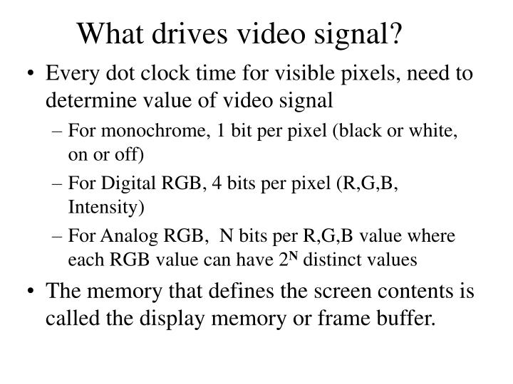 What drives video signal?