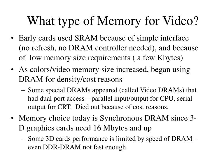 What type of Memory for Video?