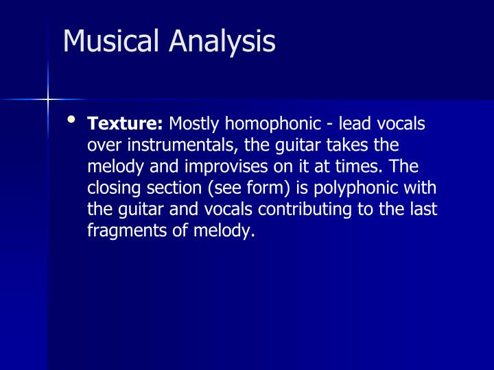 Musical Analysis