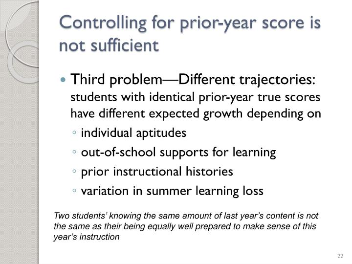 Controlling for prior-year score is not sufficient