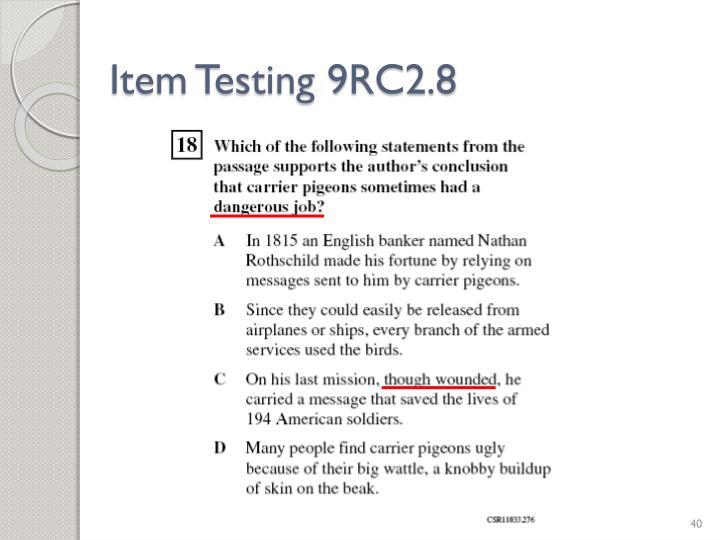 Item Testing 9RC2.8