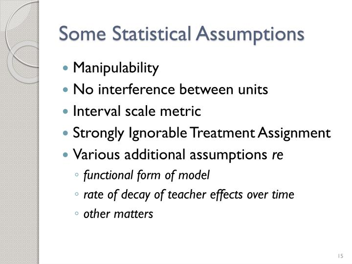 Some Statistical Assumptions