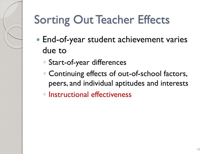Sorting Out Teacher Effects
