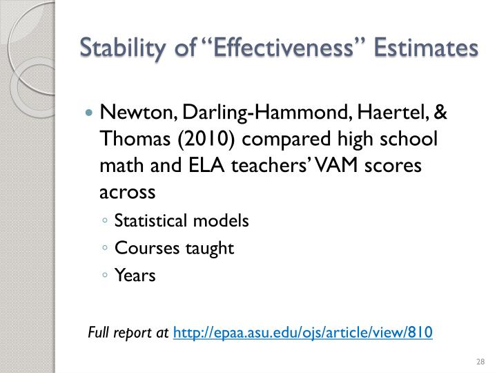 "Stability of ""Effectiveness"" Estimates"