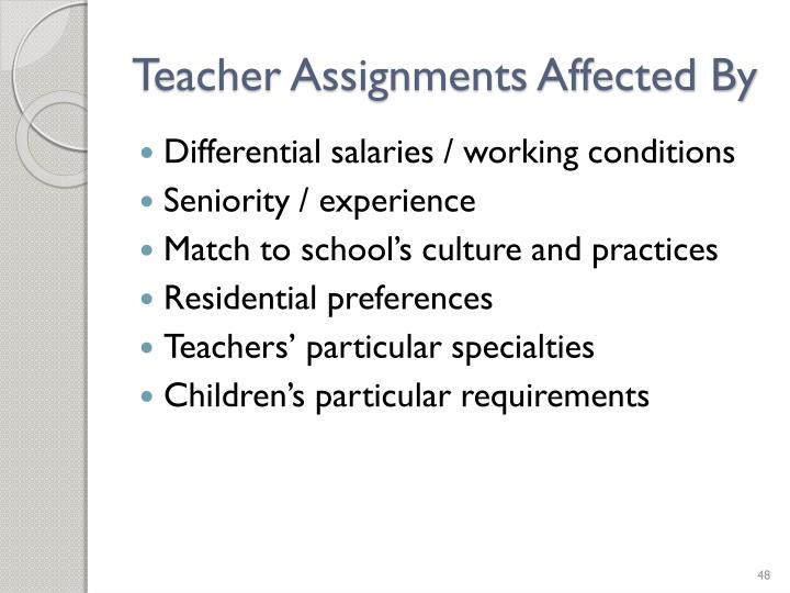 Teacher Assignments Affected By