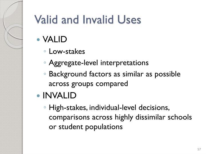 Valid and Invalid Uses