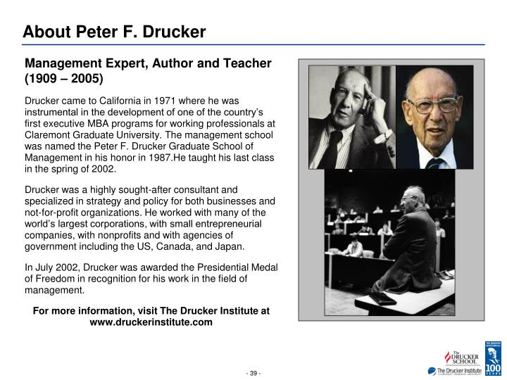 About Peter F. Drucker