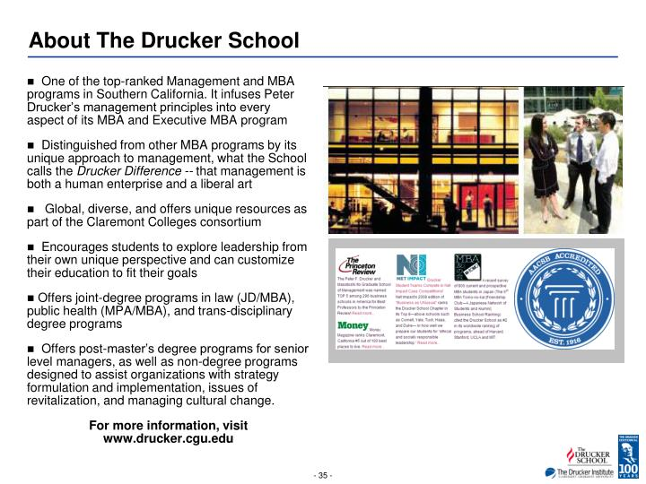 About The Drucker School
