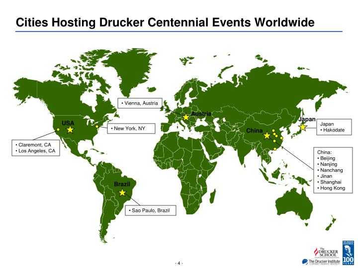 Cities Hosting Drucker Centennial Events Worldwide