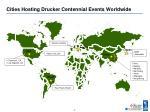 cities hosting drucker centennial events worldwide