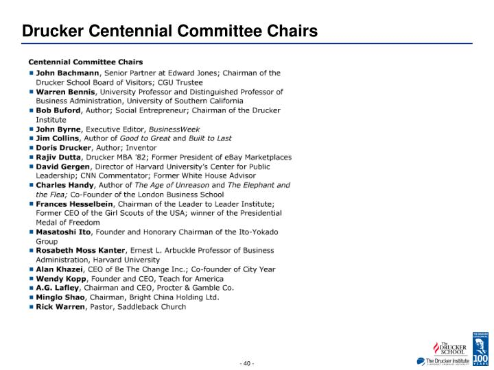 Drucker Centennial Committee Chairs