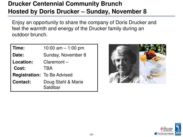 Drucker Centennial Community Brunch