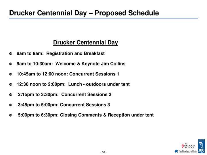 Drucker Centennial Day – Proposed Schedule