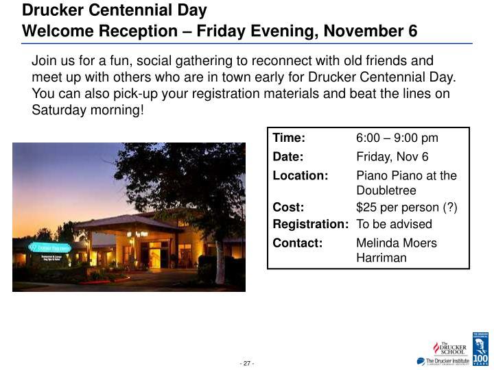 Drucker Centennial Day