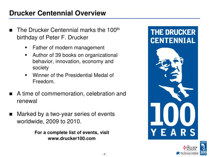 Drucker centennial overview