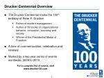 drucker centennial overview