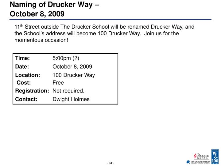 Naming of Drucker Way –