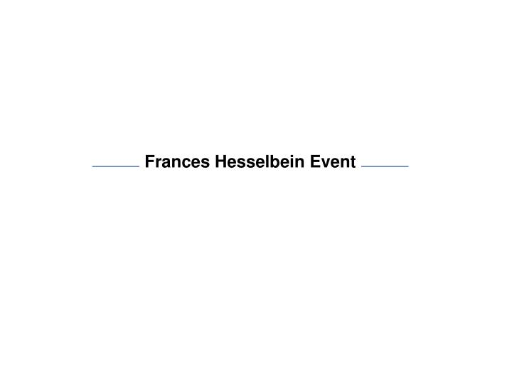 Frances Hesselbein Event