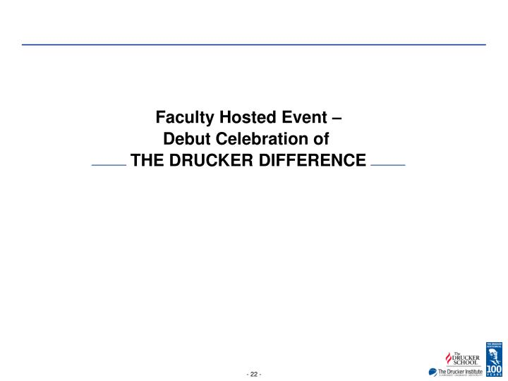 Faculty Hosted Event –