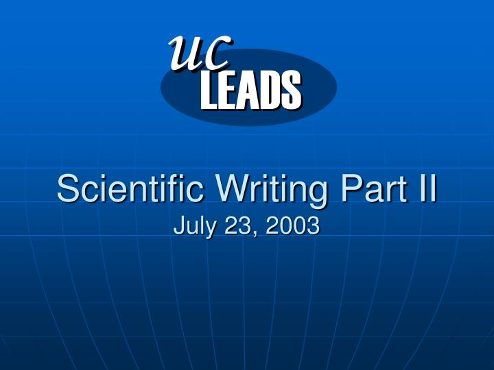 Scientific writing part ii july 23 2003