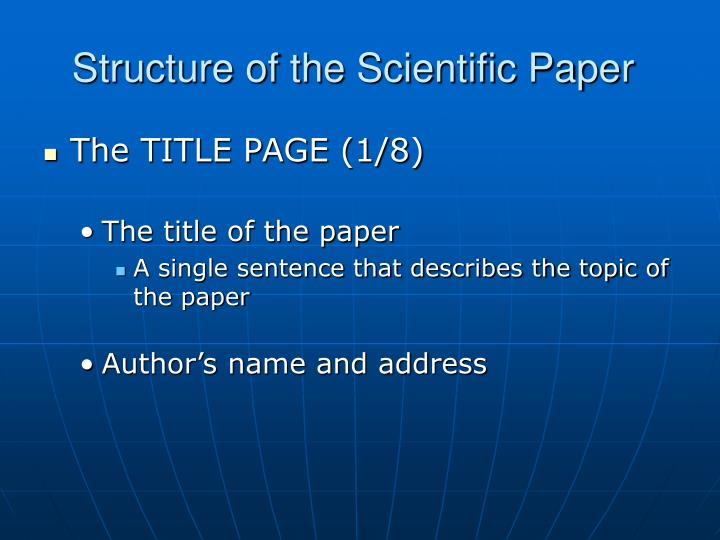 Structure of the Scientific Paper