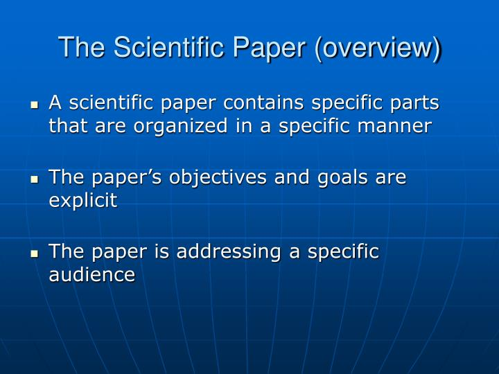 The scientific paper overview
