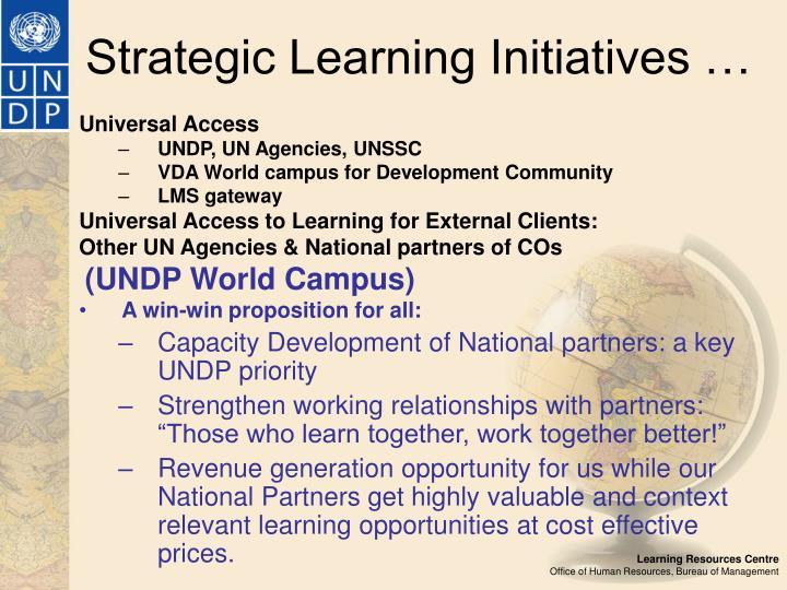 Strategic Learning Initiatives …
