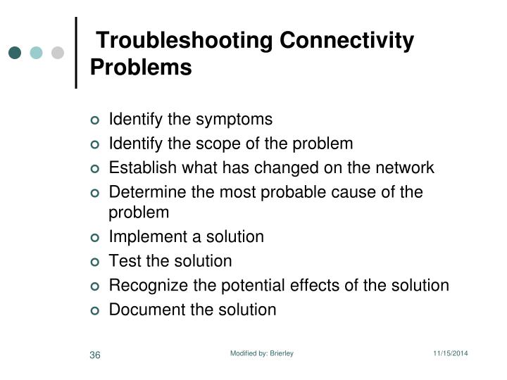 Troubleshooting Connectivity Problems