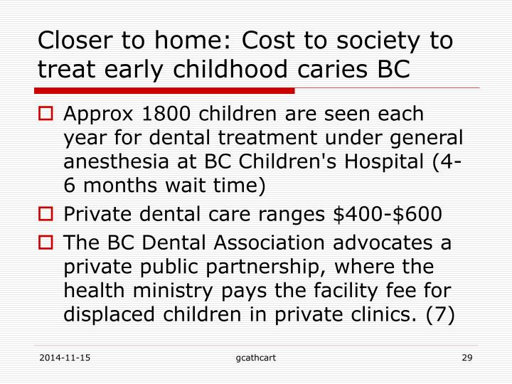 Closer to home: Cost to society to treat early childhood caries BC