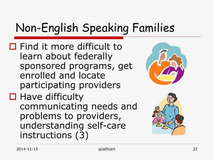 Non-English Speaking Families