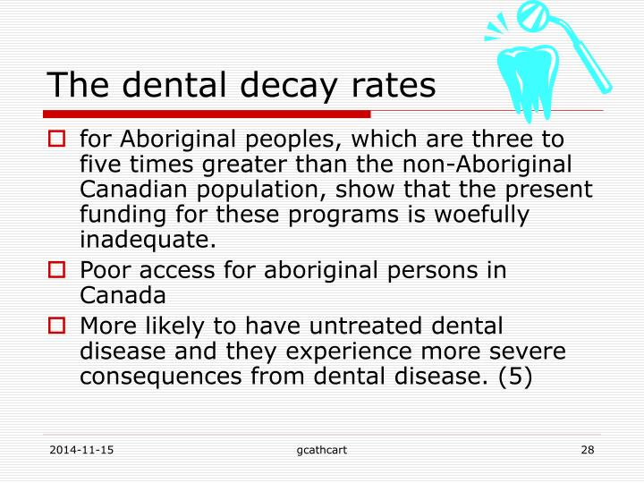 The dental decay rates