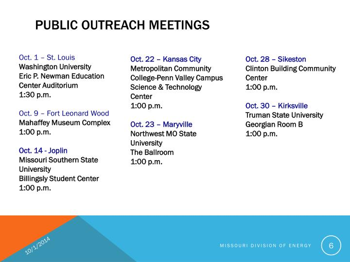 PUBLIC OUTREACH MEETINGS