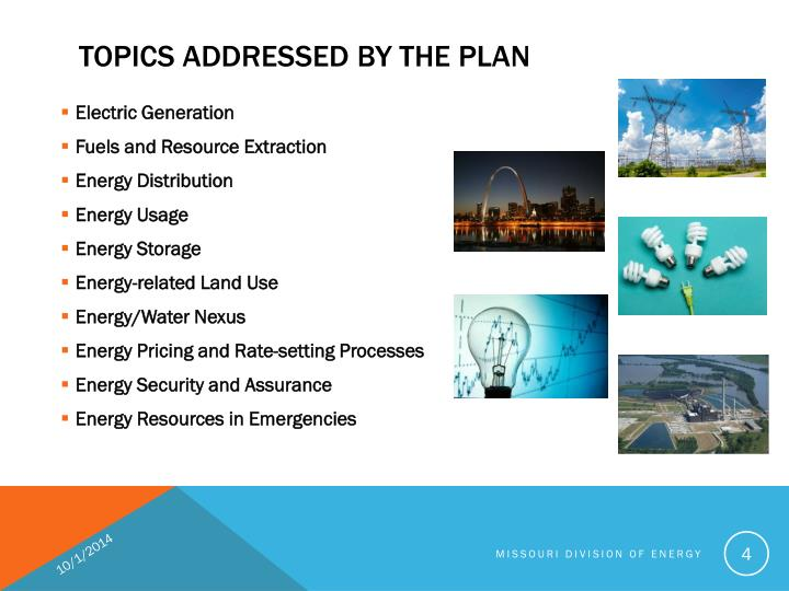 TOPICS ADDRESSED BY THE PLAN