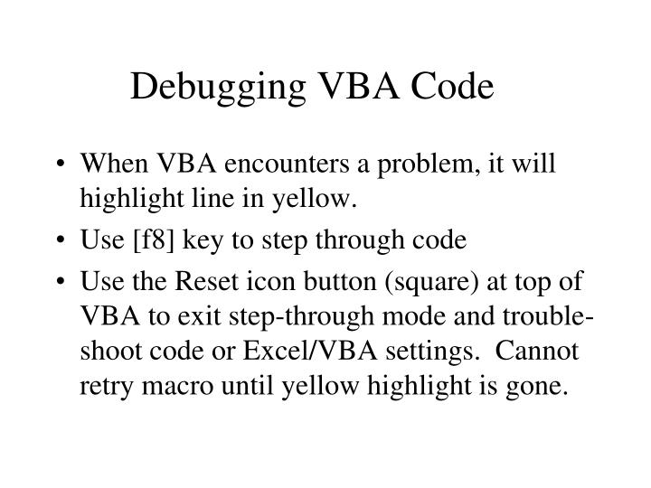 Debugging VBA Code