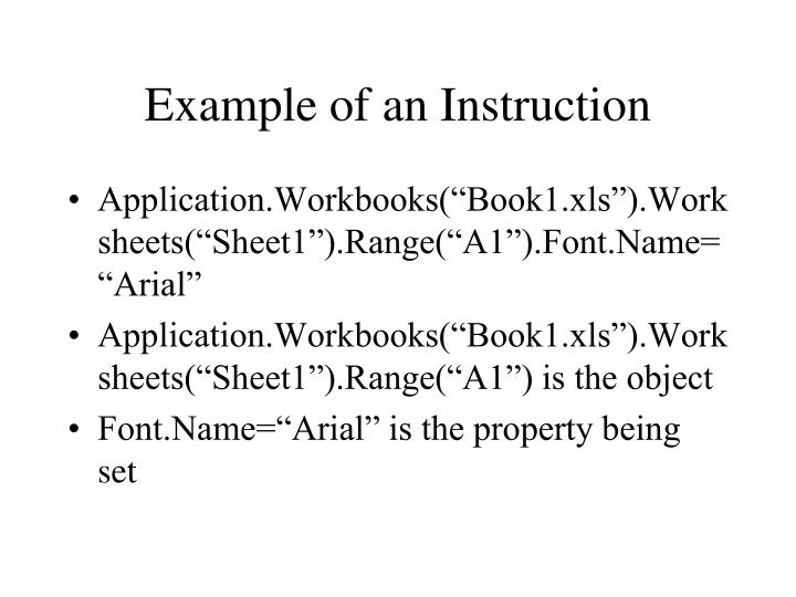 Example of an Instruction
