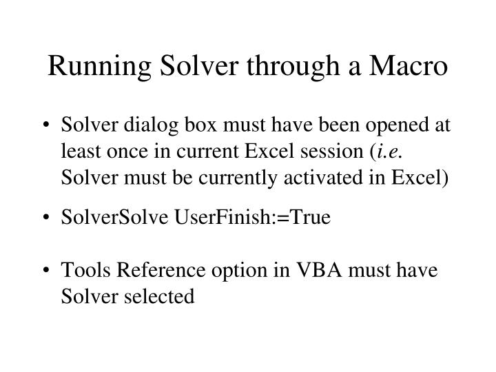 Running Solver through a Macro