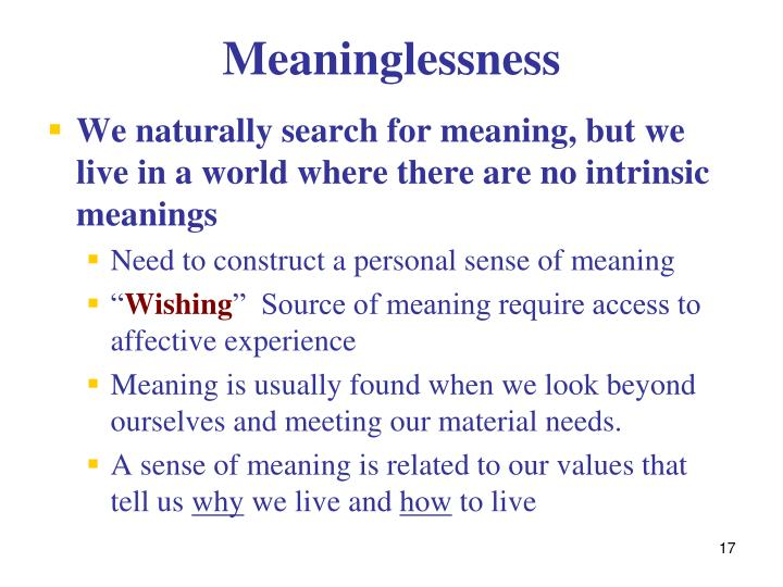 Meaninglessness