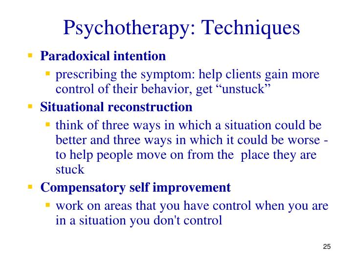 Psychotherapy: Techniques