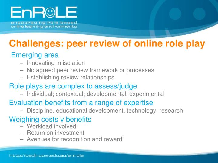 Challenges: peer review of online role play