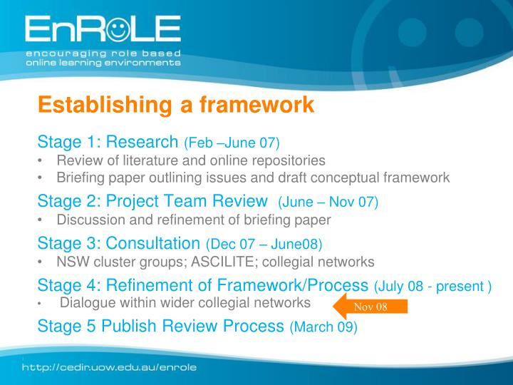 Establishing a framework