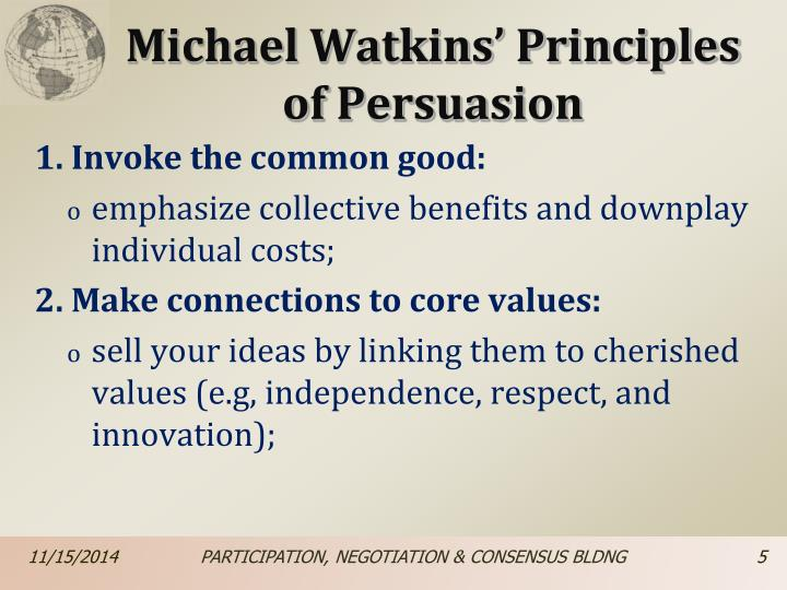 Michael Watkins' Principles of Persuasion