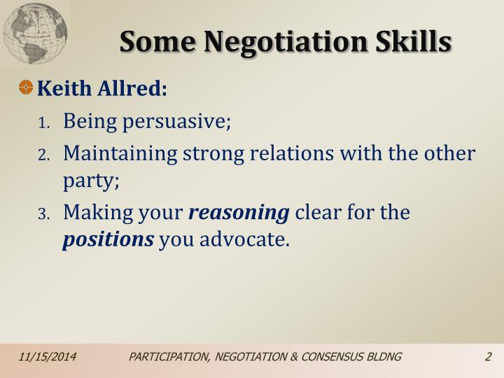 Some Negotiation Skills