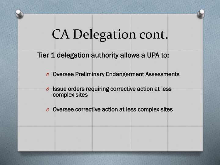 CA Delegation cont.