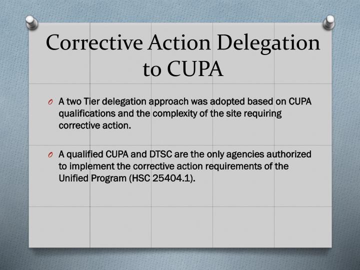 Corrective Action Delegation
