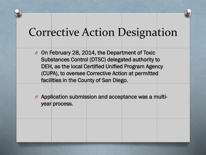 Corrective Action Designation