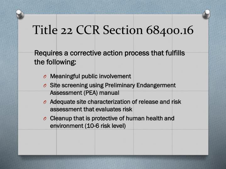 Title 22 CCR Section 68400.16