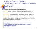 articles en faveur du risque darbre 2006 school of biological sciences reading uk